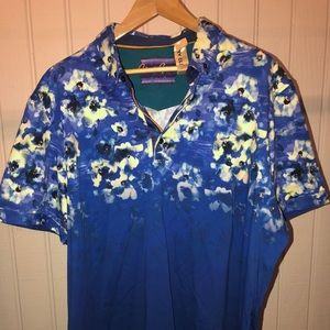 Polo Robert Graham shirt Blue floral multi-color.